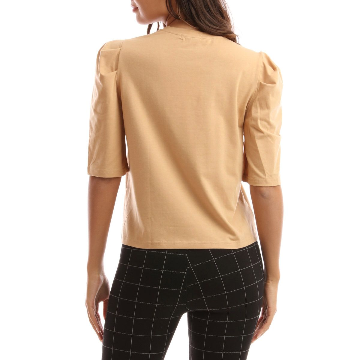 Top taupe à manches bouffantes