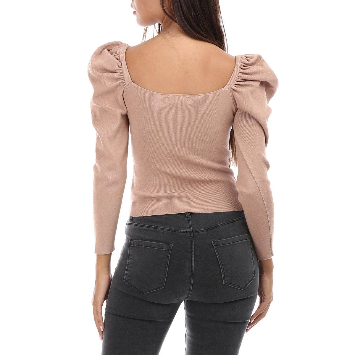 Pull court taupe à manches bouffantes