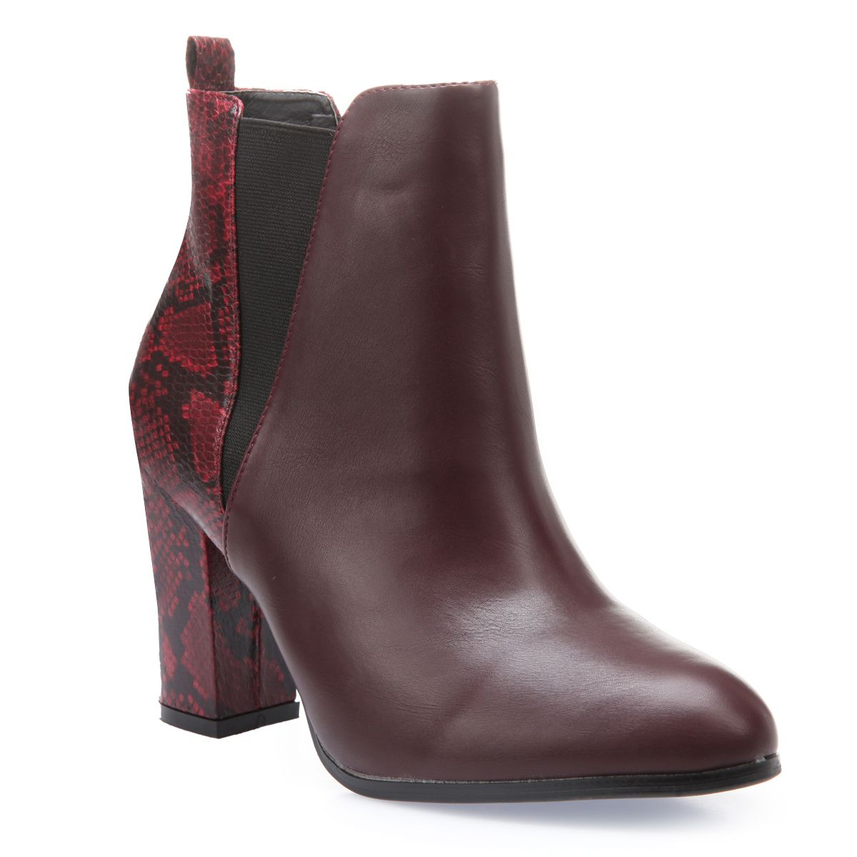 Bottines chelsea bordeaux imprimé python