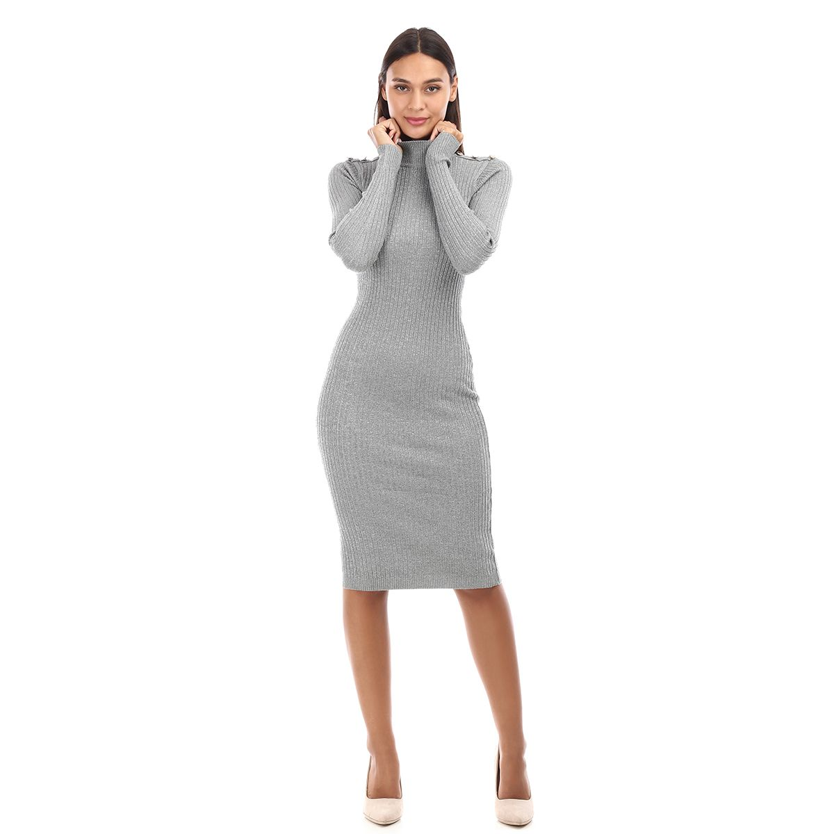 Robe pull grise lurex à boutons