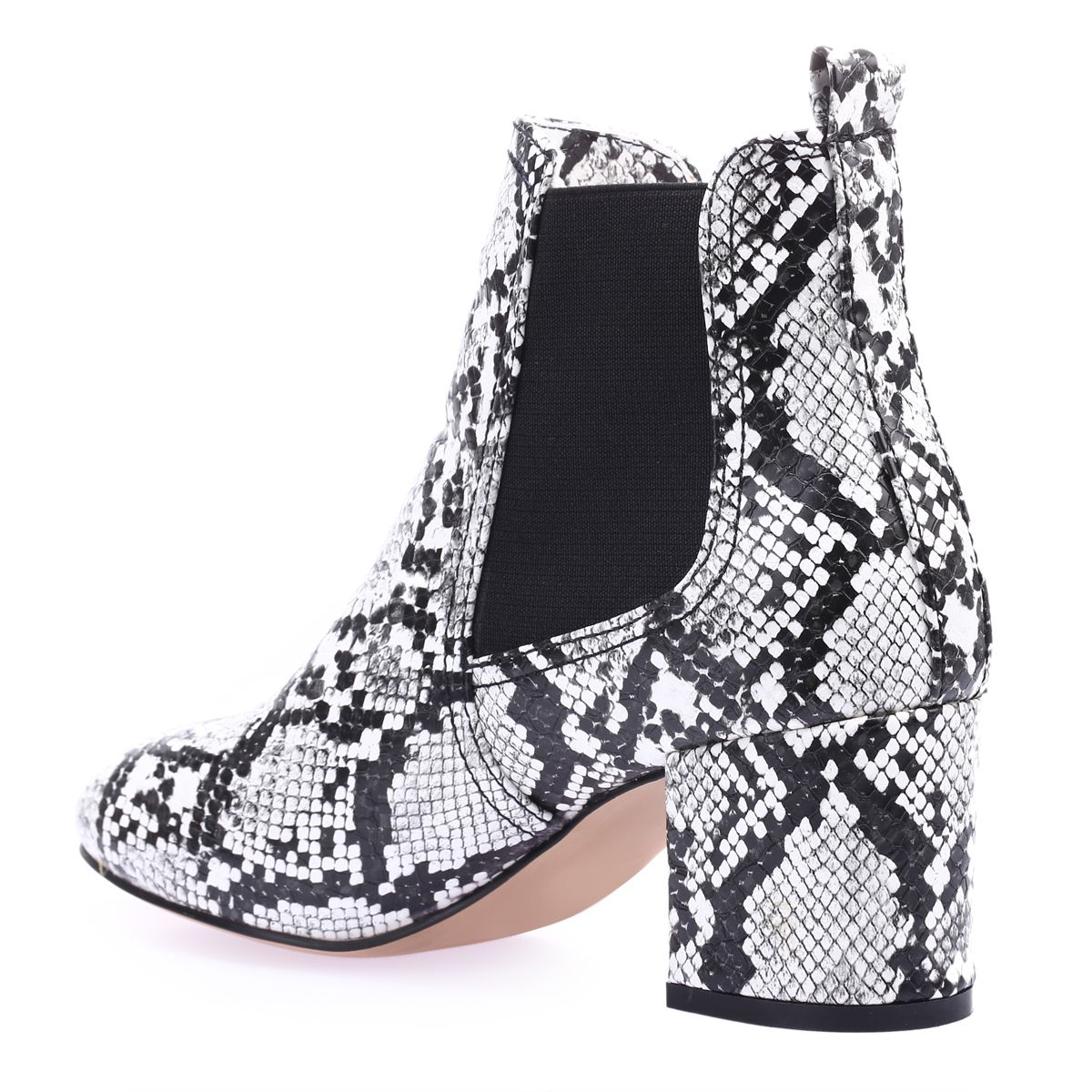 Bottines chelsea blanches motif python