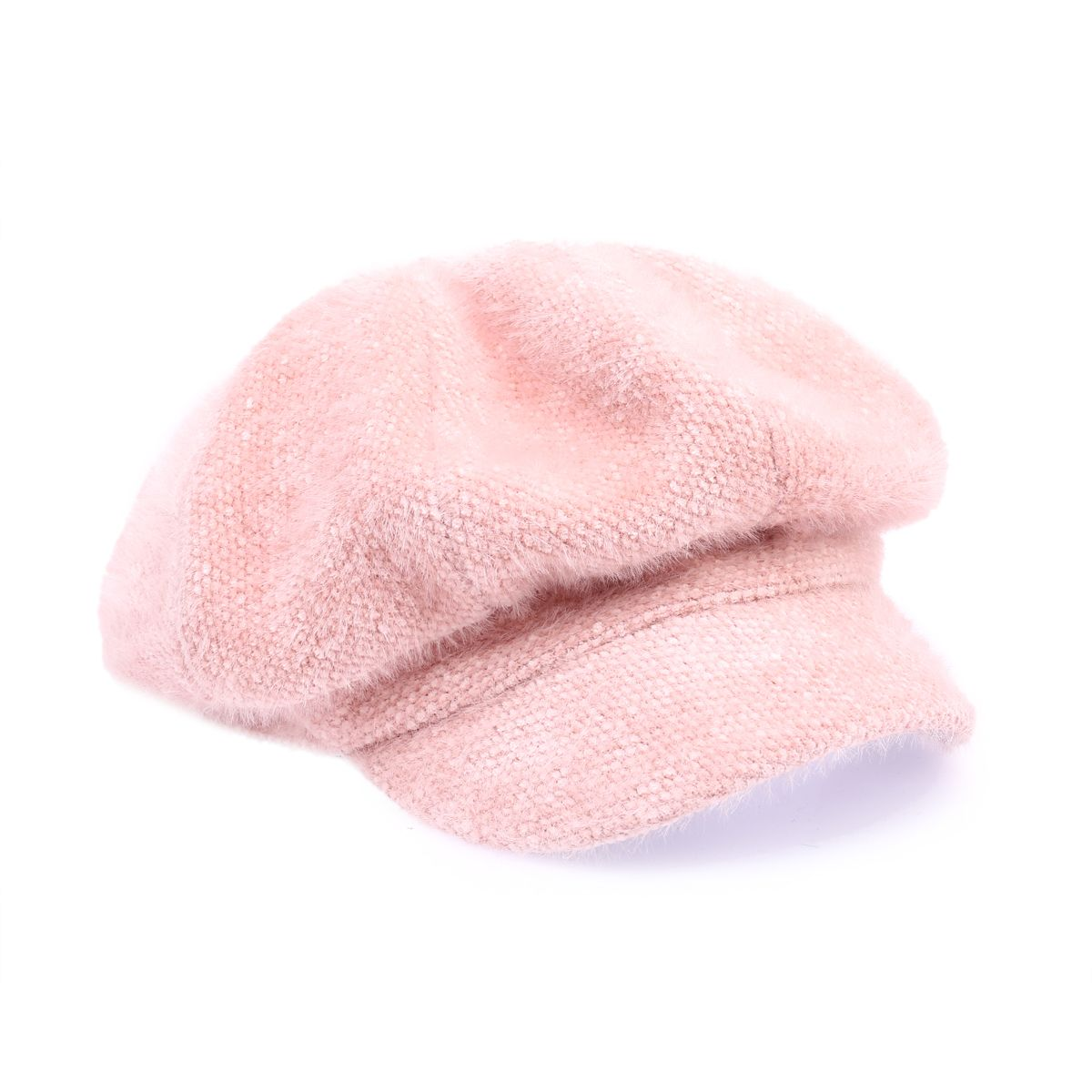 Casquette plate rose duveteuse style gavroche
