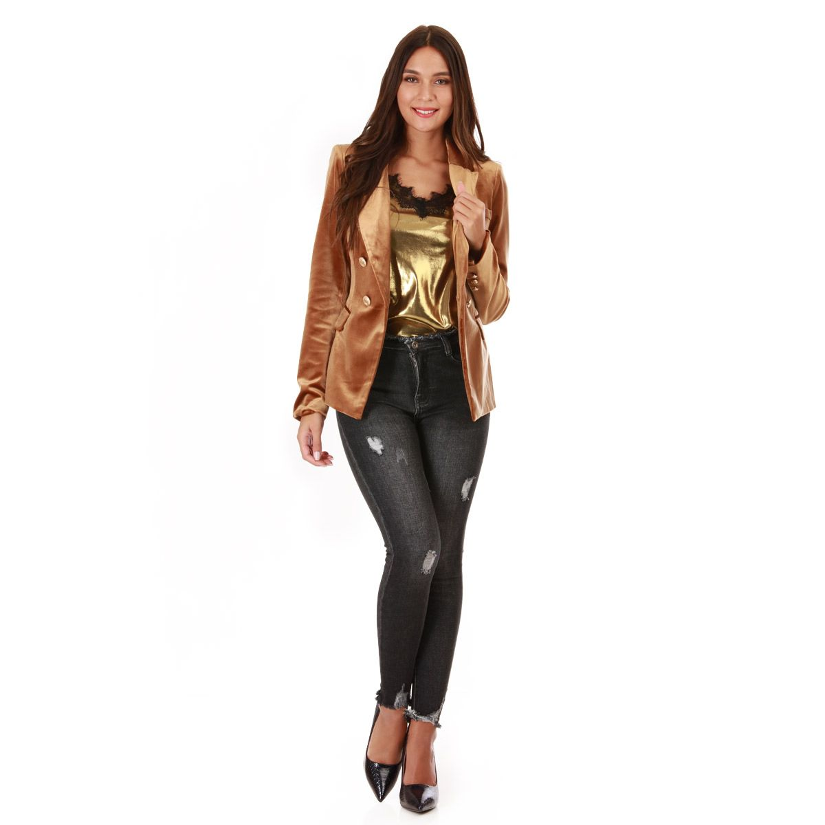 Veste en velours bronze style officier