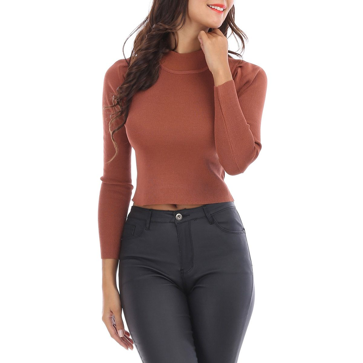 Pull cropped marron