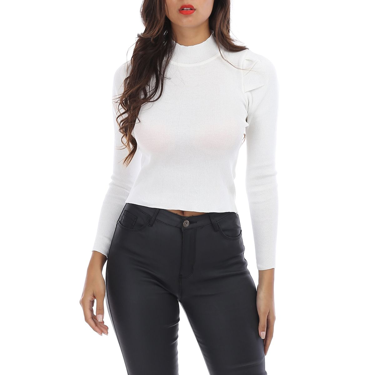 Pull cropped blanc