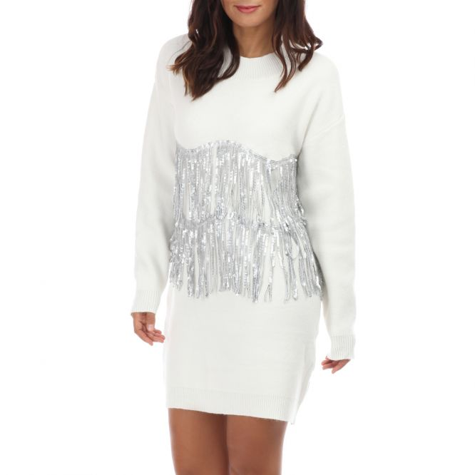 Robe pull blanche à franges sequins