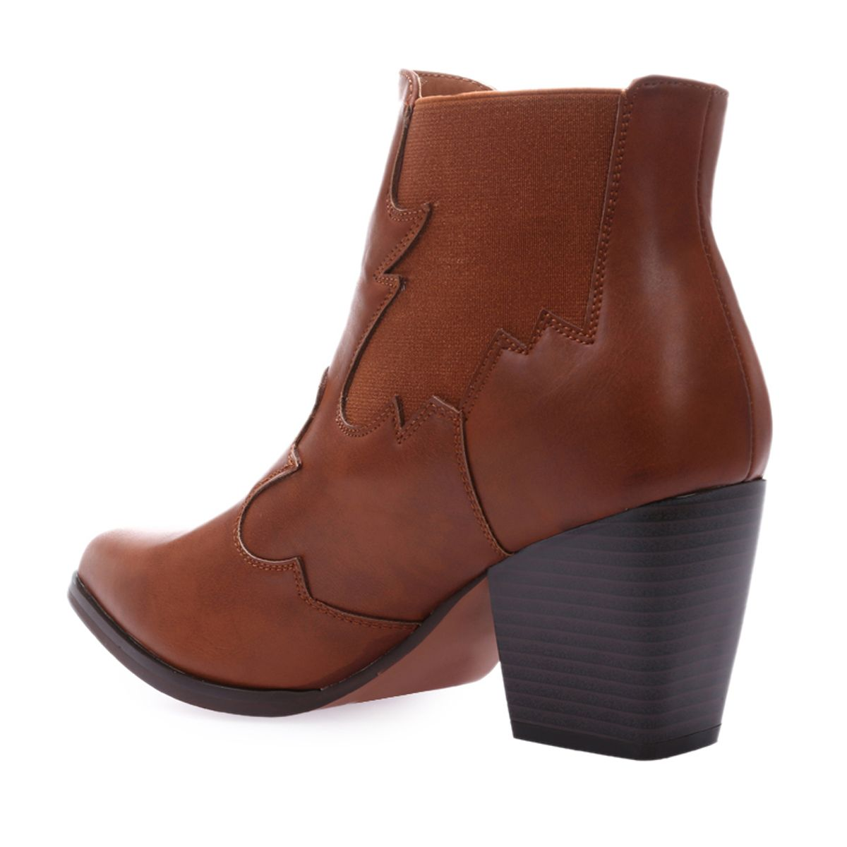 Low boots style santiags en simili cuir marron