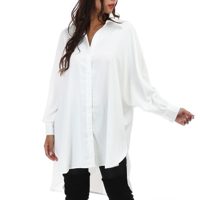 Robe chemise fluide blanche