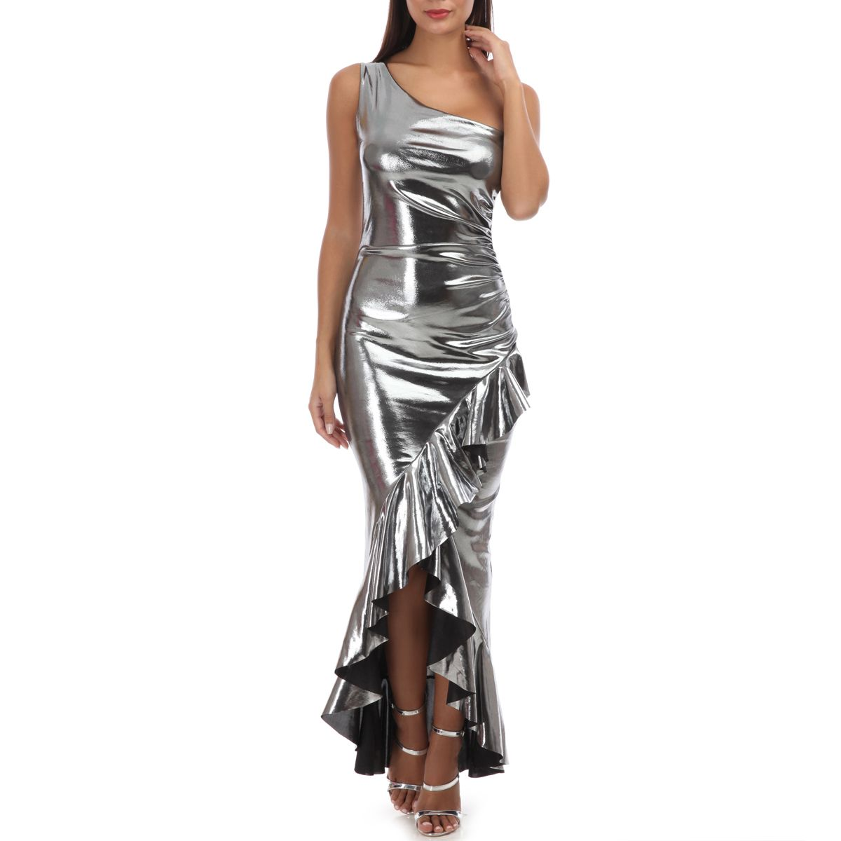 Robe Argentee Lamee One Shoulder A Volants