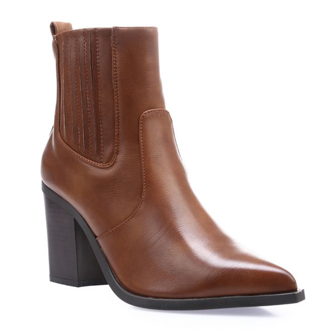 Bottines marron style santiags en simili cuir