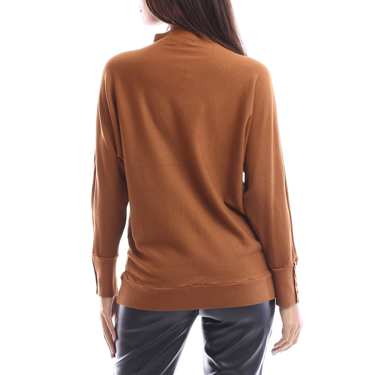 Pull camel à manches bouffantes
