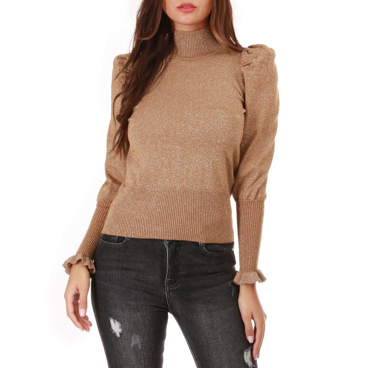 Pull taupe lurex à manches gigot