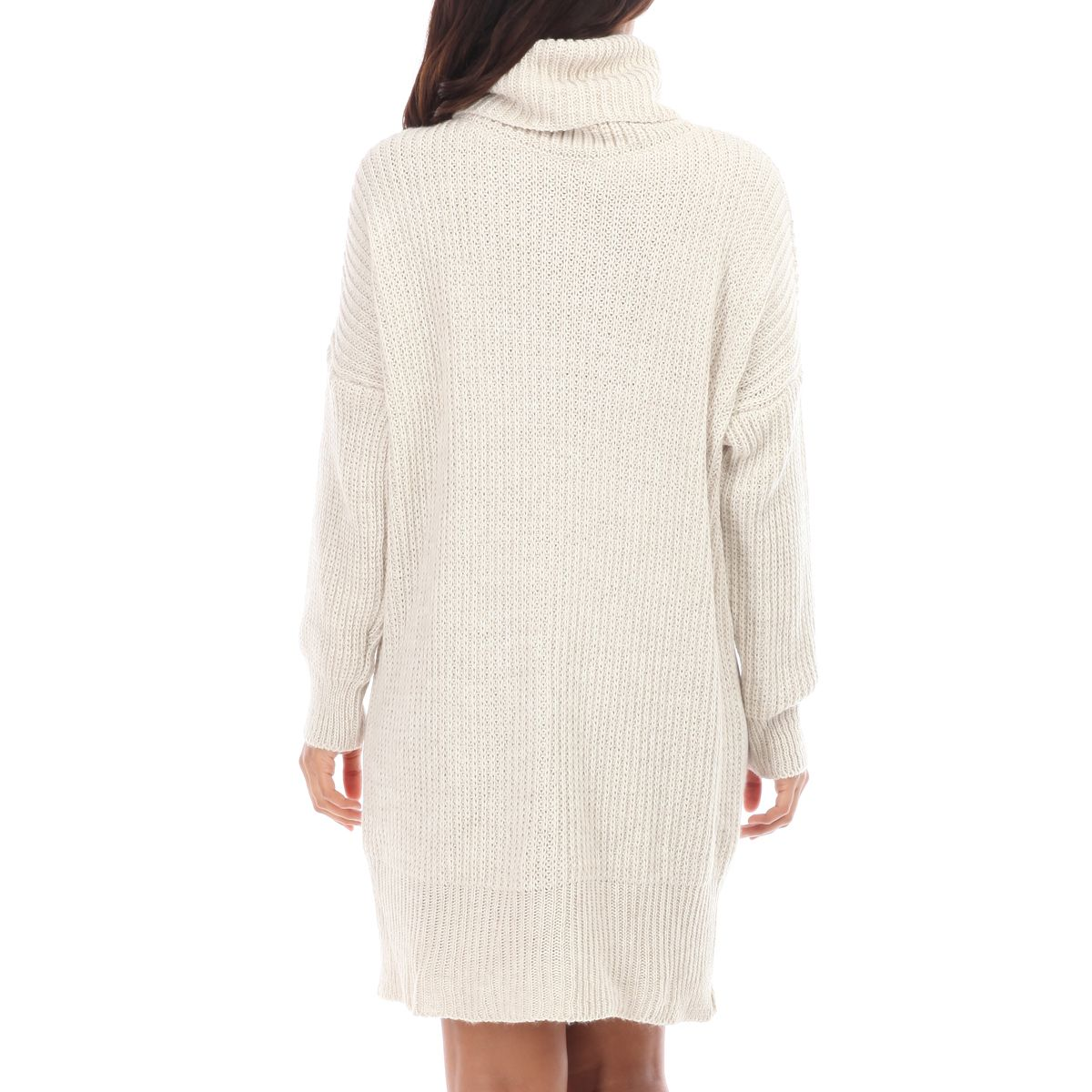 Robe pull beige col roulé