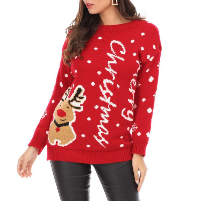 Pull rouge Merry Christmas avec petit renne