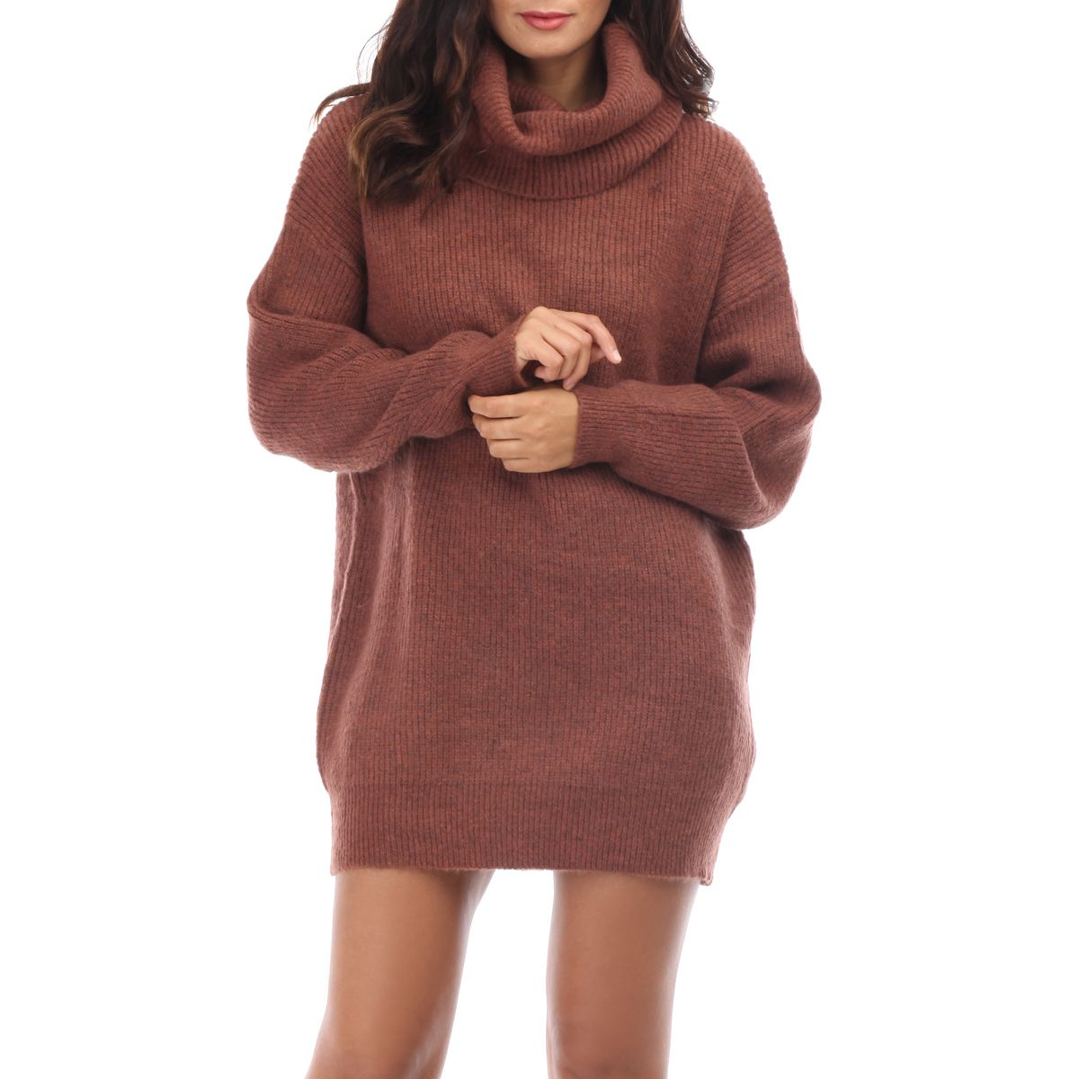 Robe Pull Marron A Col Roule Oversize