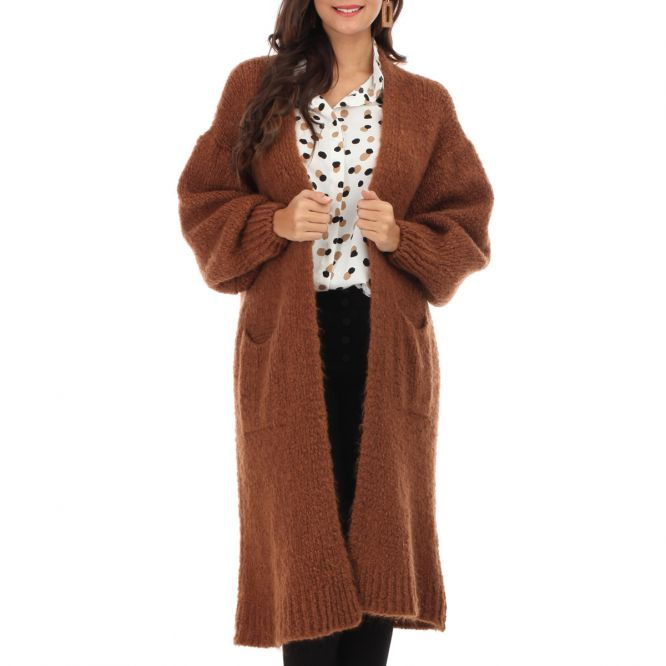 Gilet long camel à manches bouffantes