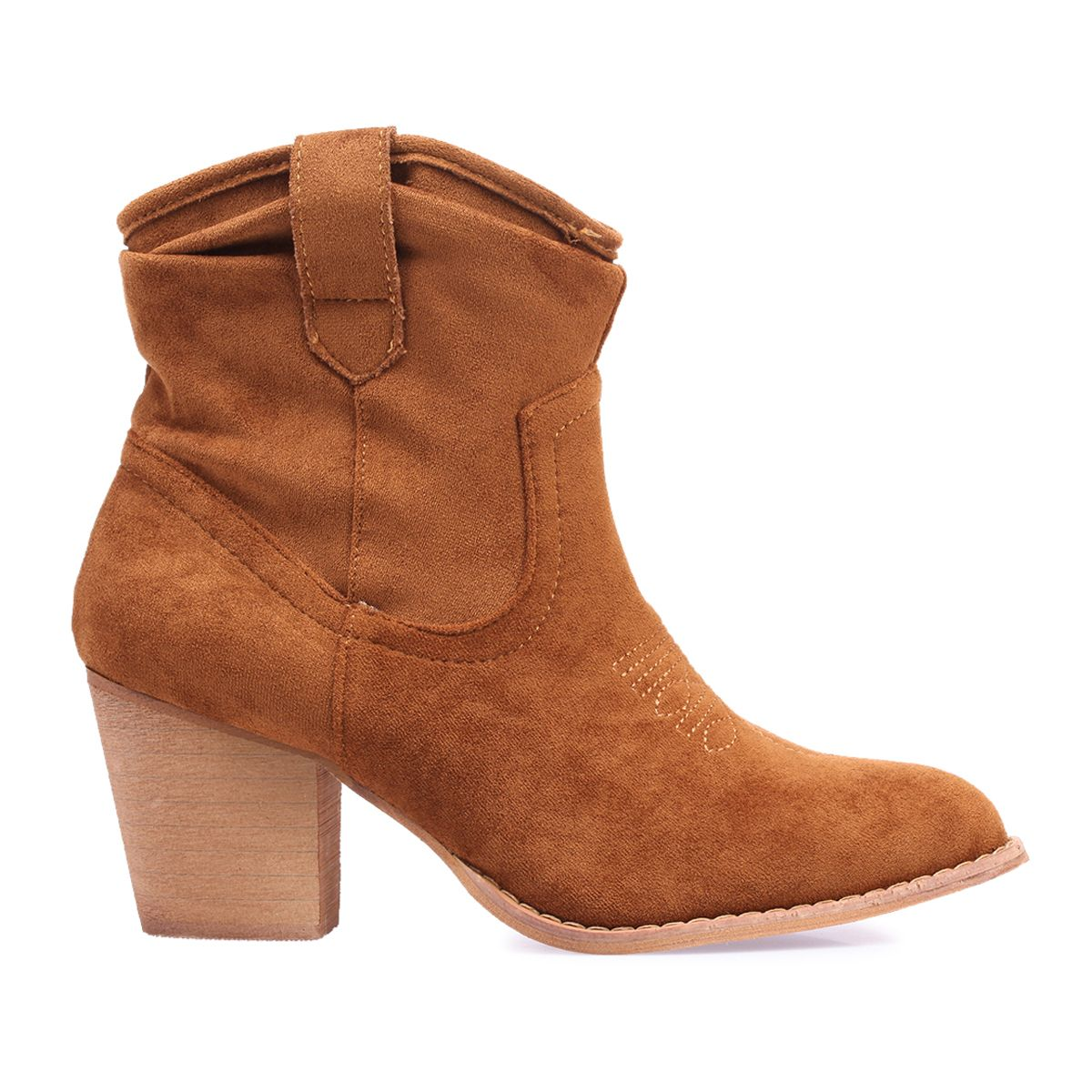 Bottines camel en suédine