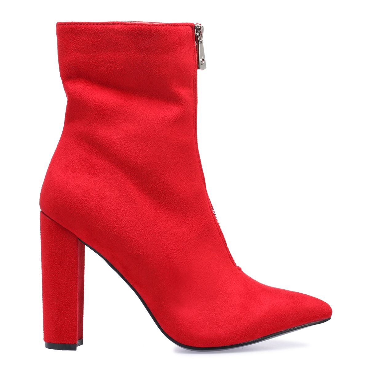 Bottines rouges à talon zippées