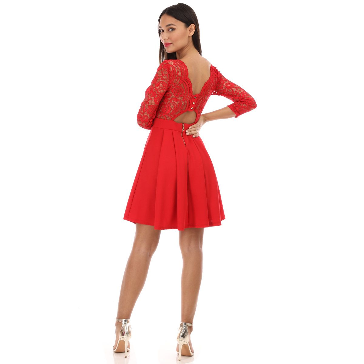 Robe patineuse à dentelle rouge
