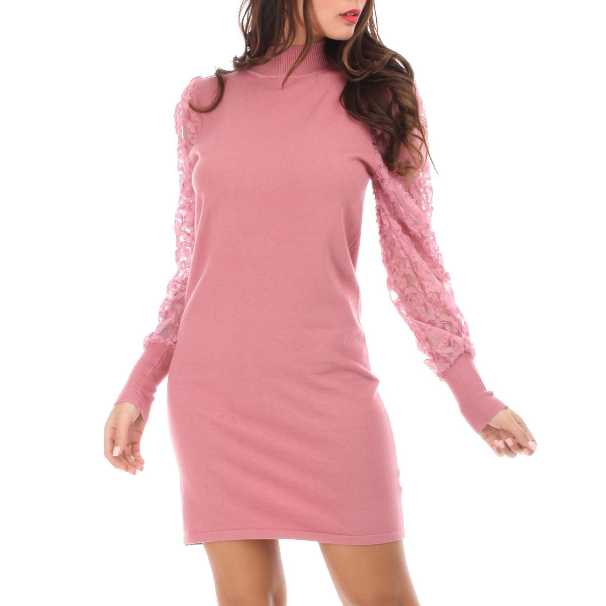Robe pull à manches bouffantes fleuries rose