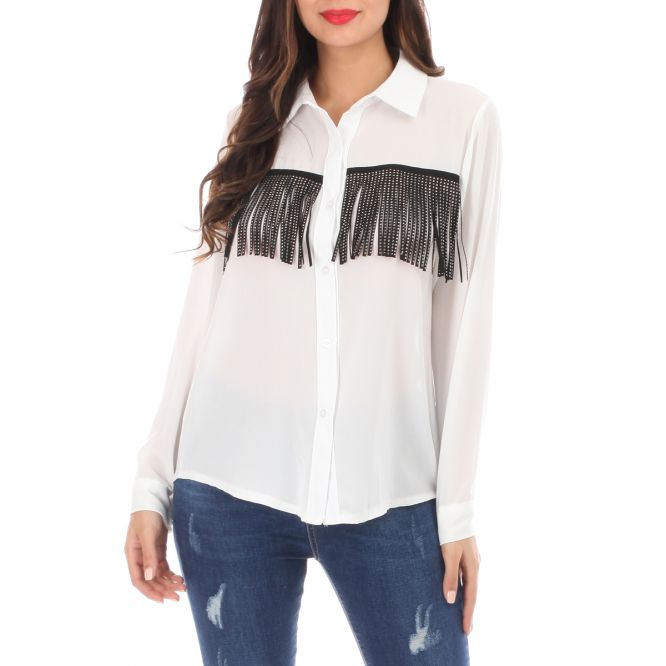 Chemise style cow-boy à strass blanche