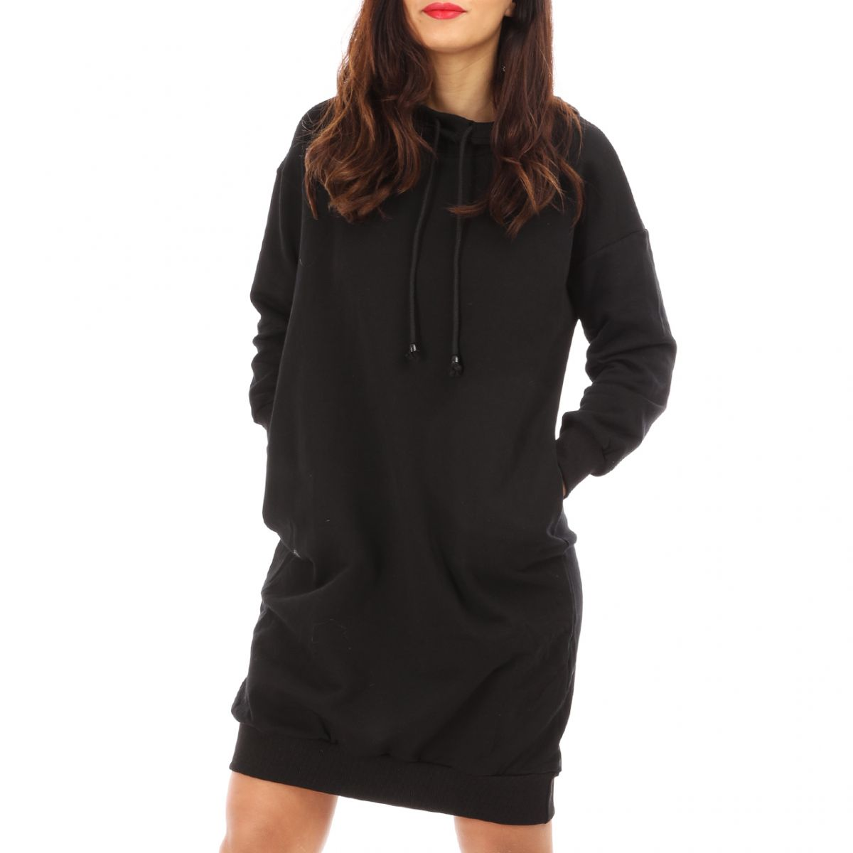 Robe pull style sweat noire