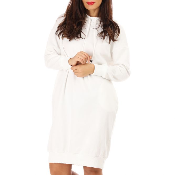 Robe pull style sweat blanche