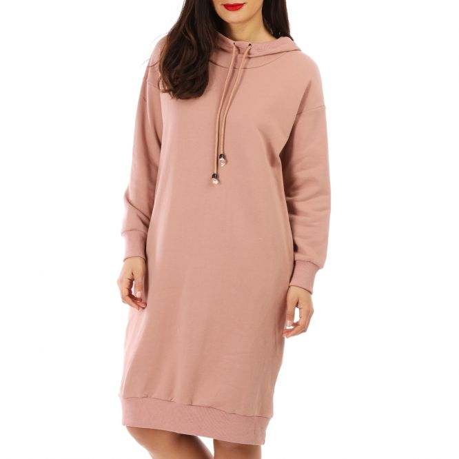 Robe pull style sweat rose
