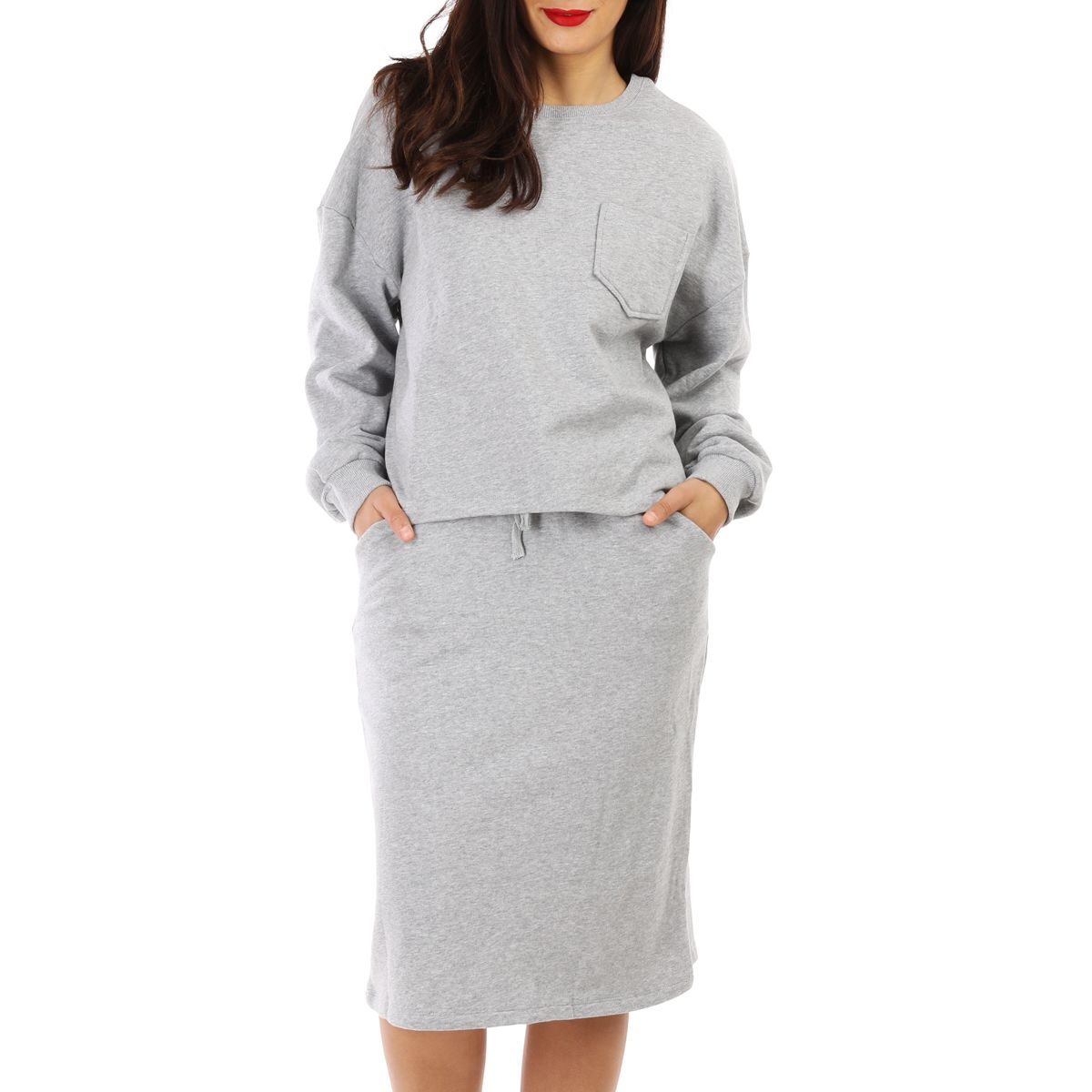 Ensemble jupe sweat gris