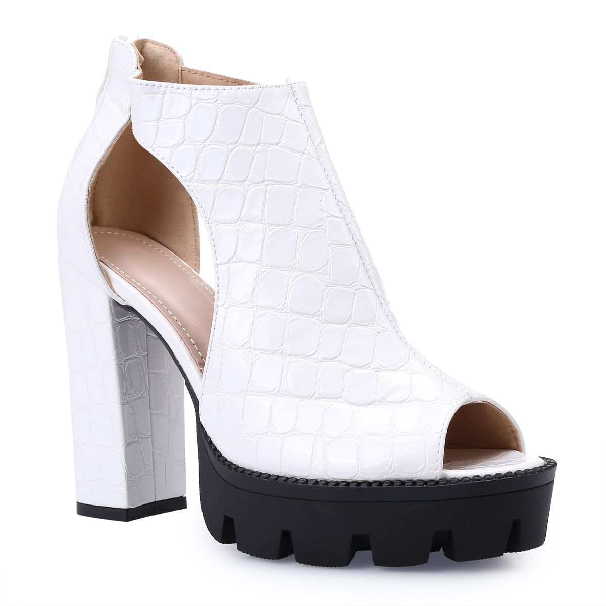 Bottines peep toes blanches à effet croco verni
