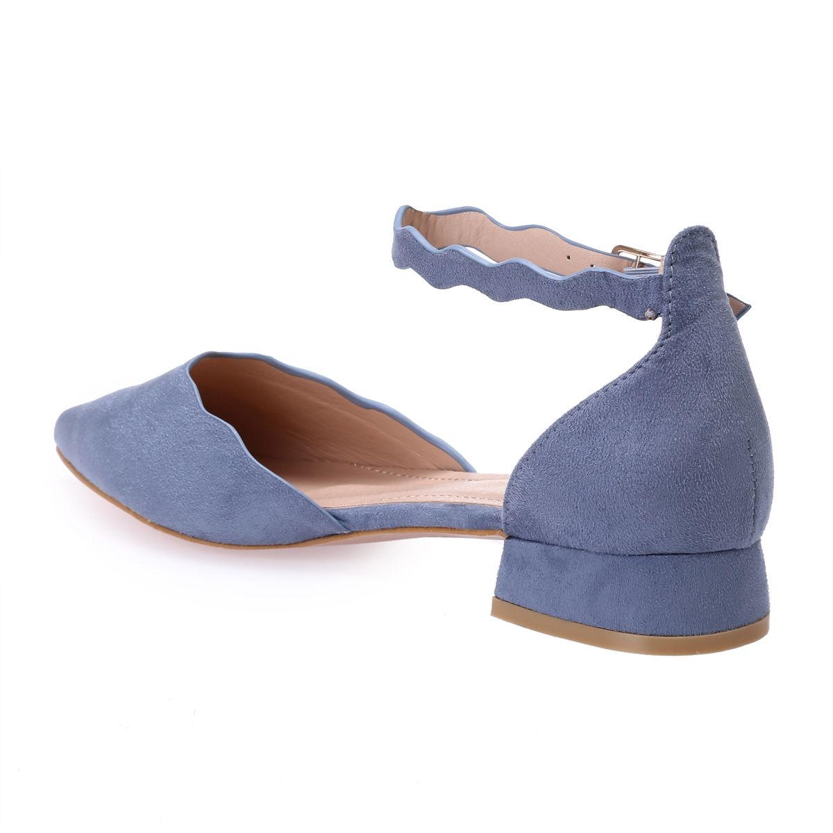 Ballerines pointues bleues à finitions vagues