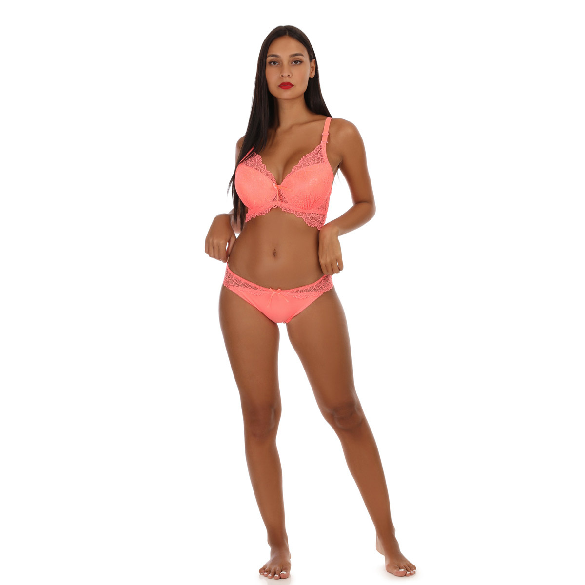 Ensemble lingerie corail push up en dentelle