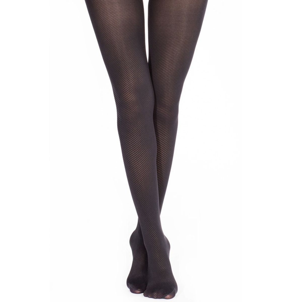 Collants semi-opaques noirs à rayures