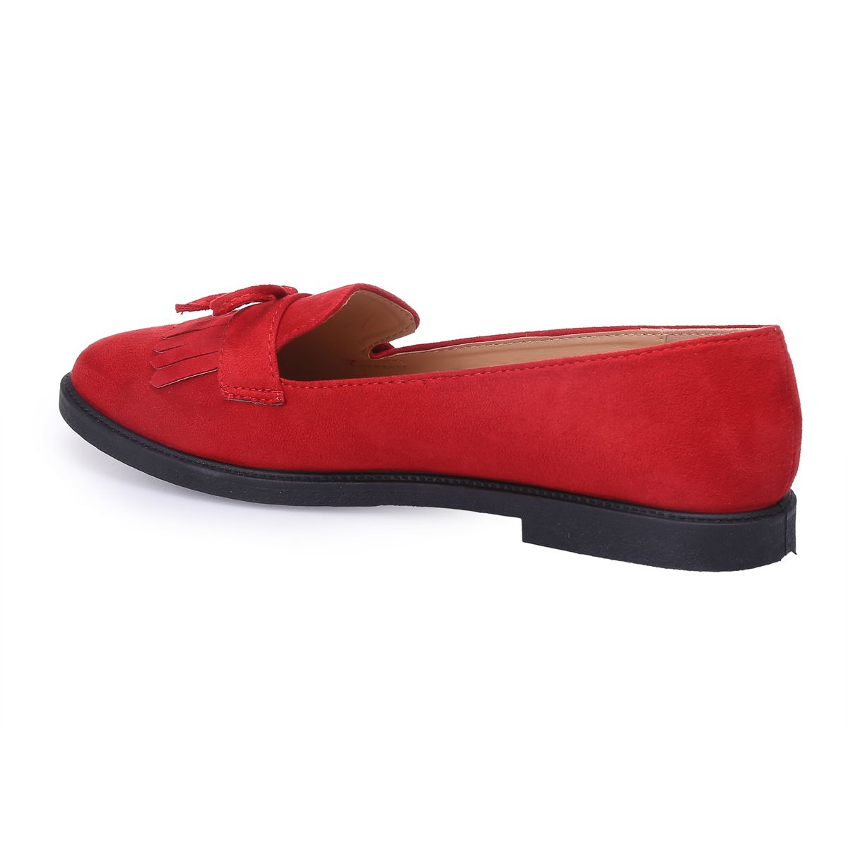Mocassins rouges à noeud et franges