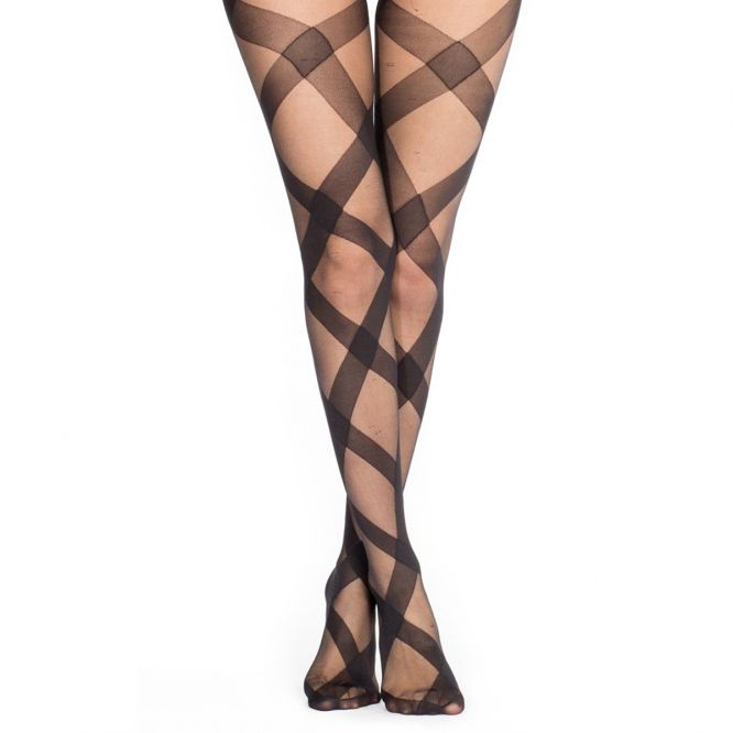 Collants opaques noirs à motif grands losanges