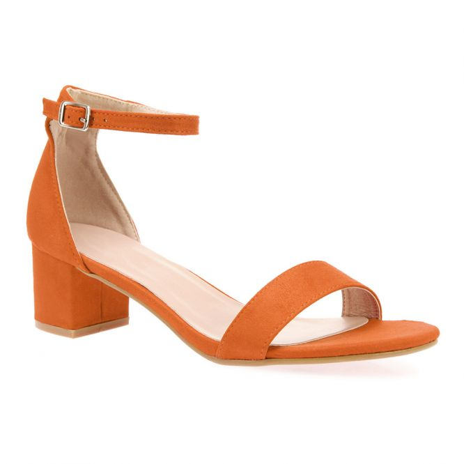 Sandales orange en simili daim