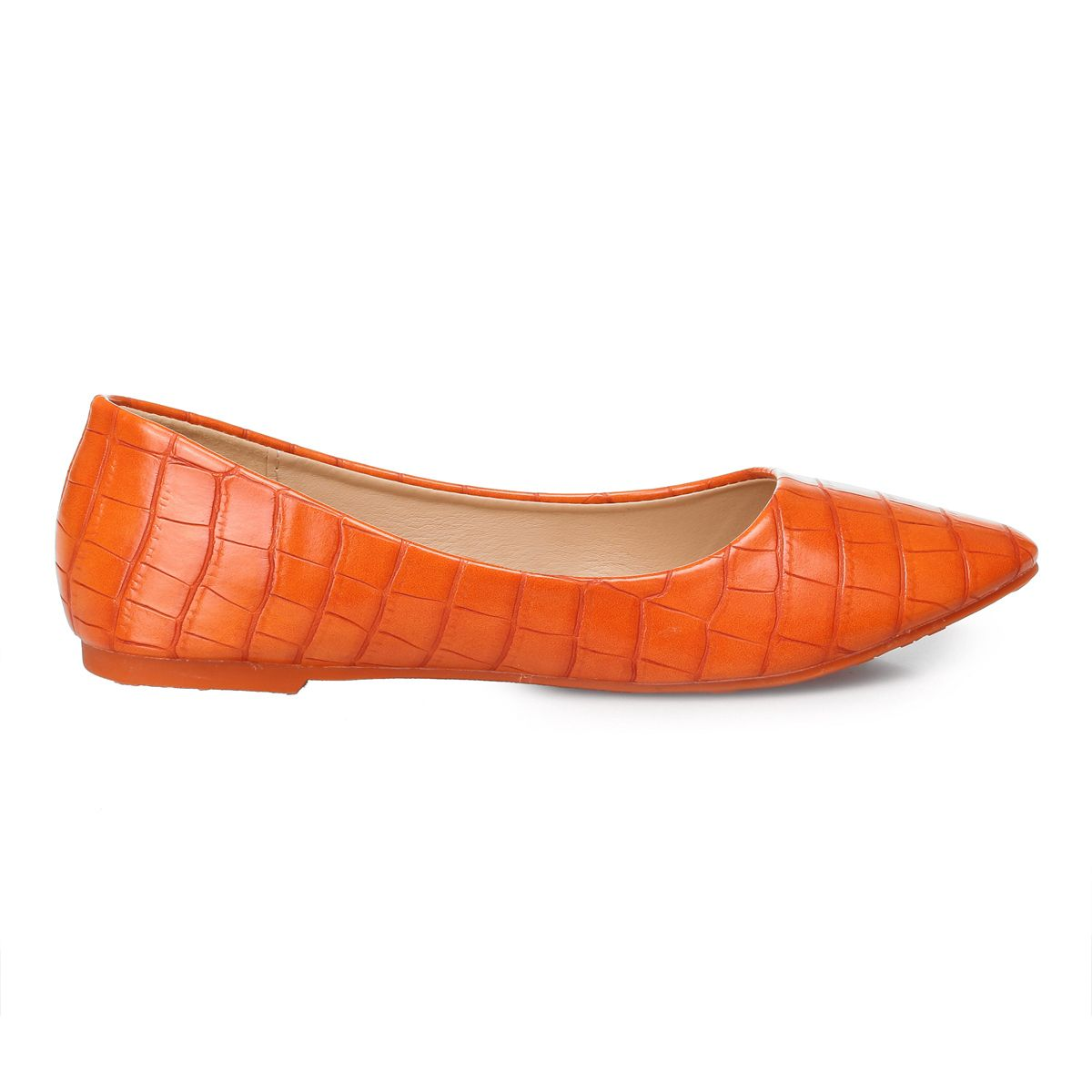 Ballerines oranges à effet croco pointues