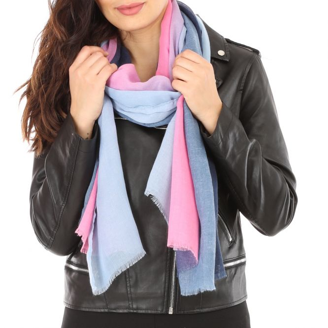 Foulard semi transparent bleu et rose fushia
