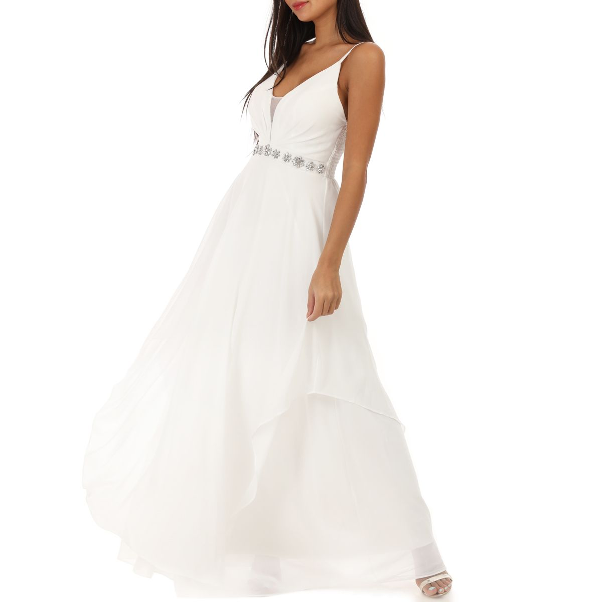 Robe Longue Fluide Blanche A Strass