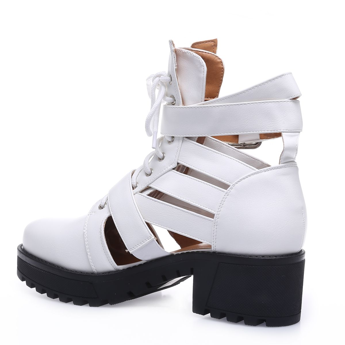Bottines blanches style rangers ajourées