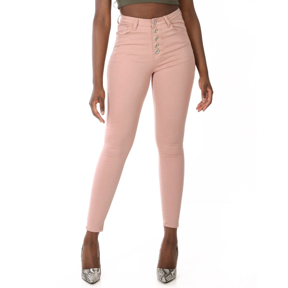 Jeans skinny rose taille haute