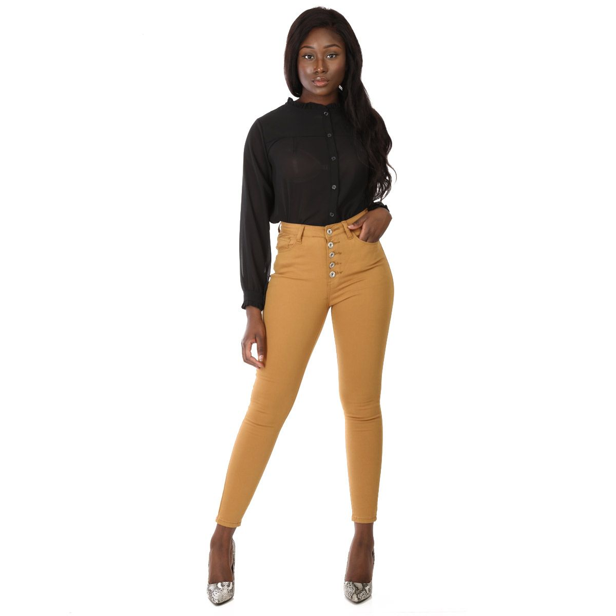 Jeans skinny camel taille haute
