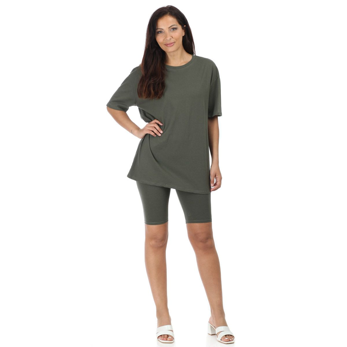 Ensemble kaki t-shirt oversize et short cycliste