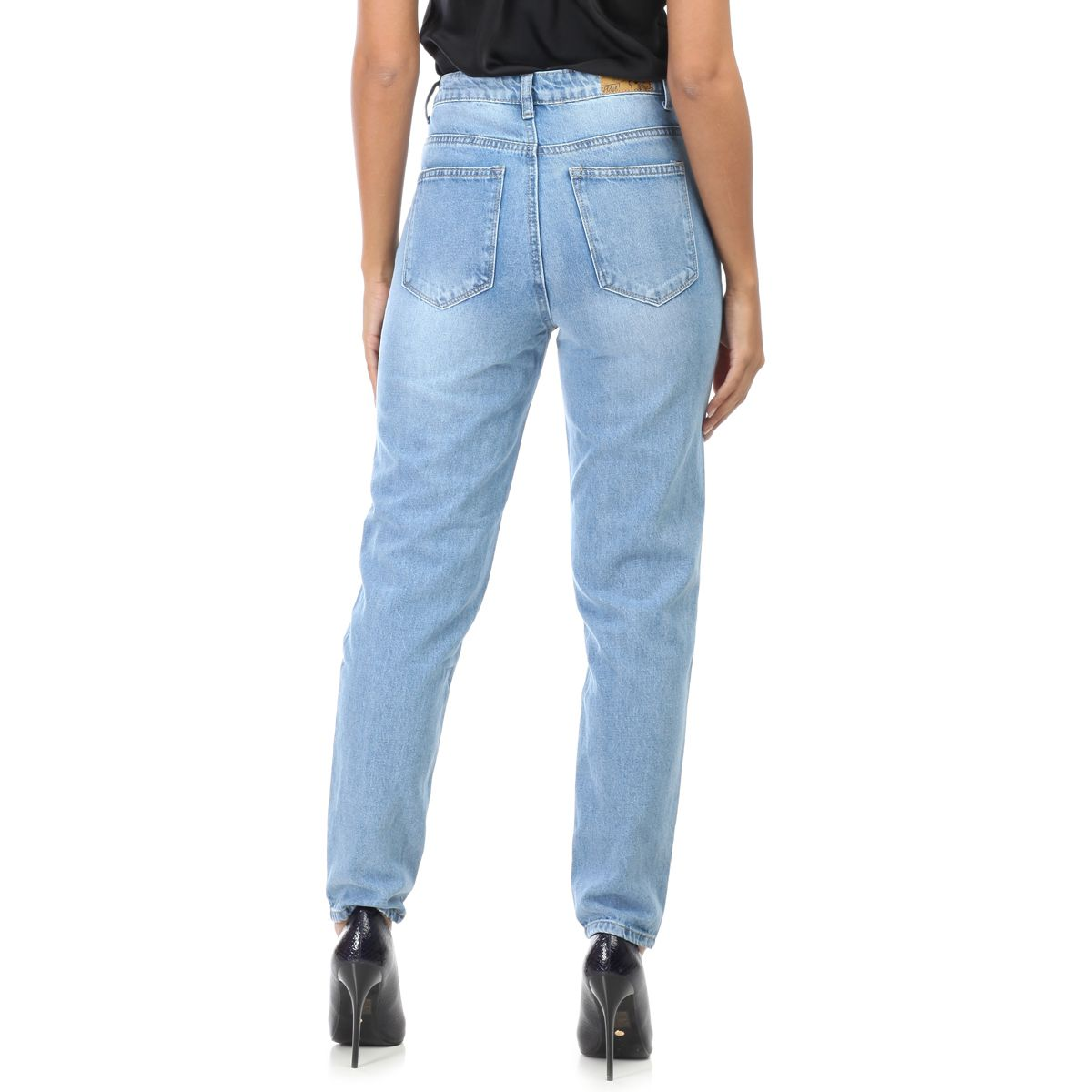 Jeans mom bleu taille haute