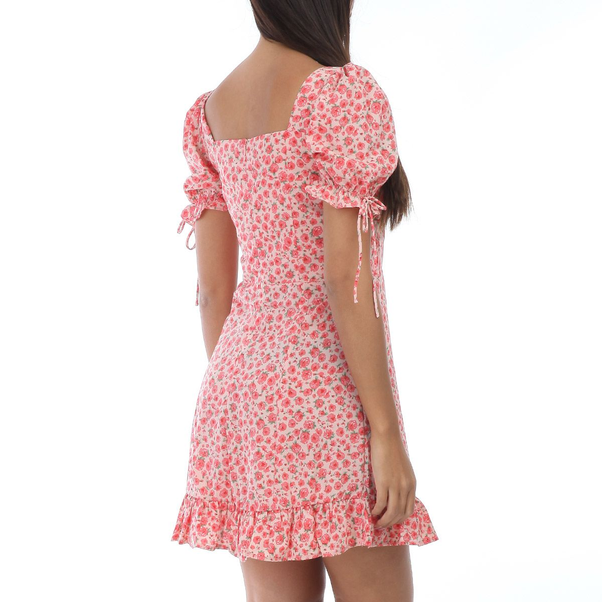 Robe patineuse taupe à fleurs roses