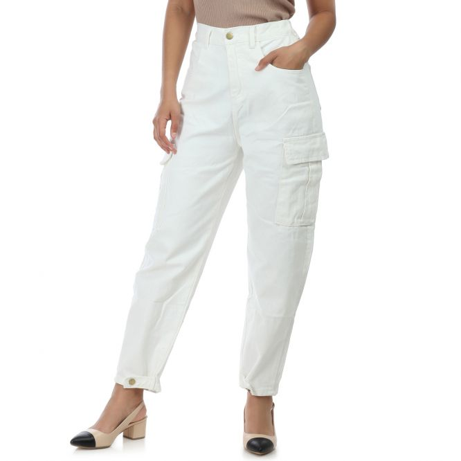 Jeans slouchy blanc style utilitaire