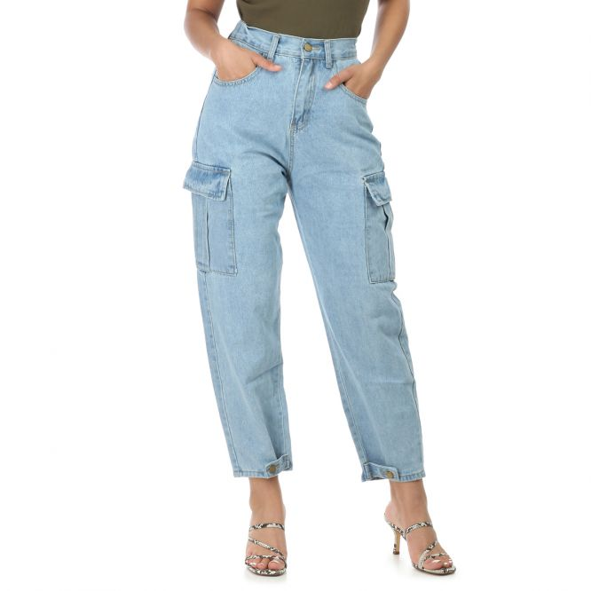 Jeans slouchy bleu style utilitaire