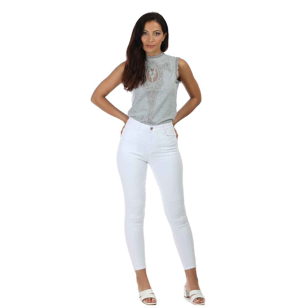 Jeans skinny blanc taille haute