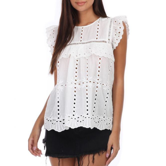 Blouse blanche à broderie anglaise