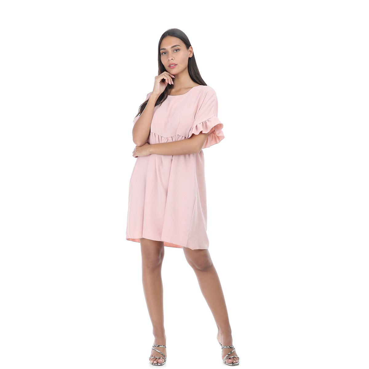 Robe rose style babydoll à manches courtes